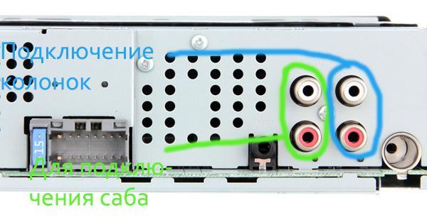 В данные разъёмы подключаются межблочные провода, по которым идёт звуковой сигнал на усилитель.